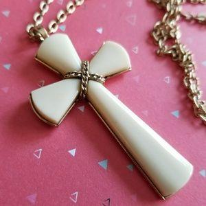 Vintage Avon cross necklace Lucite gold tone